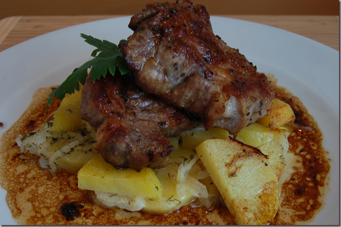 Gratinované brambory s grilovanou krkovicí