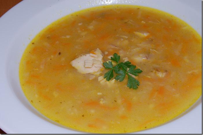 Zeleninová polévka s králičím masem a hříbky