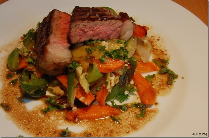 Steak z české roštěné a dušená zeleninka s vaječným bílkem