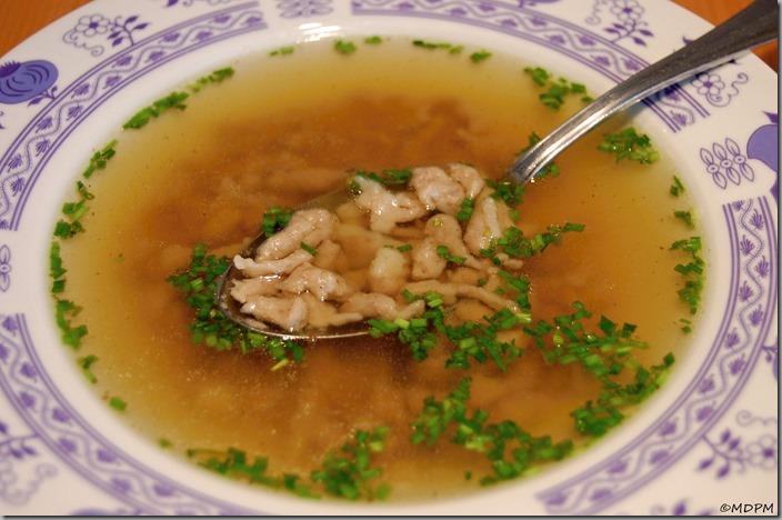 Halušky s játry v polévce