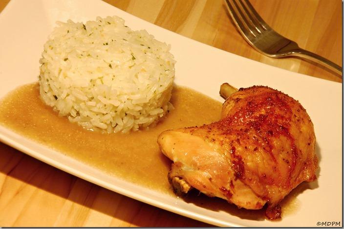 03-Nakládaná kuřecí stehna a rýže s rukolovým pestem