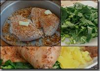 kuře a listí s brambory